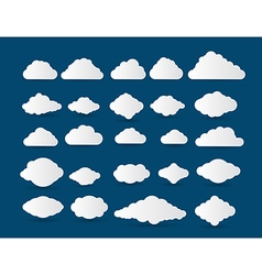 collection stylized cloud silhouettes vector image