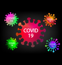 colorful covid-19 virus icons and symbol on black vector image
