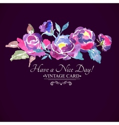 Colorful Watercolor Rose Floral Greeting Card vector image