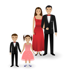 Couple and two kids in elegant clothes vector