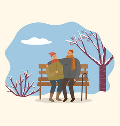 couple sitting on bench in winter time vector image