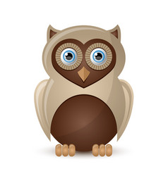 cute and funny owl character isolated on white vector image
