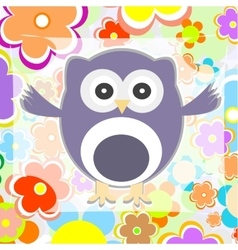 cute summer background owl with flower vector image