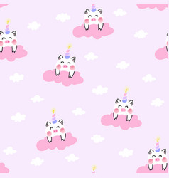 cute unicorn pig in the pink cloud vector image