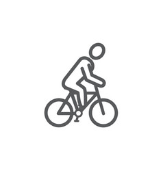 cyclist line icon on white background vector image