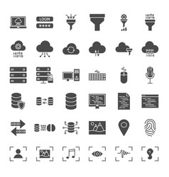 Data science solid web icons vector