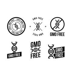 different black and white colored gmo free emblems vector image