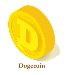 dogecoin icon isometric style vector image