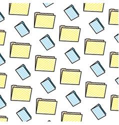 doodle folder file office information background vector image