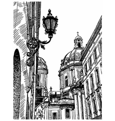 Drawing lviv ukraine historical avenue vector