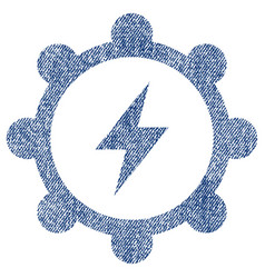 Electric energy cogwheel fabric textured icon vector
