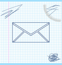envelope line sketch icon isolated on white vector image