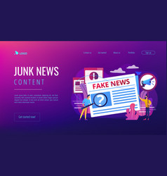Fake news concept landing page vector