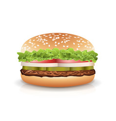 Fast food realistic burger hamburger fast vector