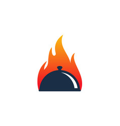 Fire food logo icon design vector