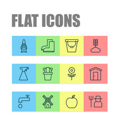 Garden icons set with windmill barn sprayer and vector