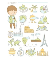Geography and travel teacher geographer doodle vector