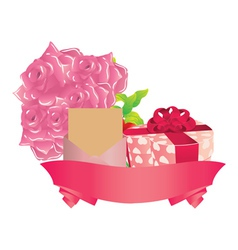 Gift and roses vector