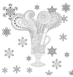 Glass of hot mulled wine in zentangle doodle style vector