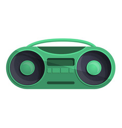 Green boom box icon cartoon style vector