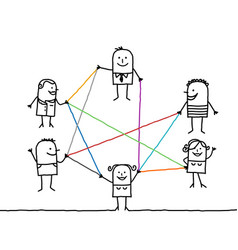 Group of people connected by color lines vector