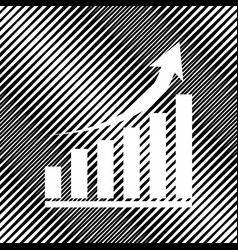 Growing graph sign icon hole in moire vector