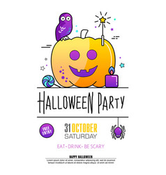 halloween party poster on white background vector image