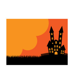 halloween poster background castle vector image