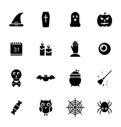 Halloween Traditional Icons Black Silhouettes vector