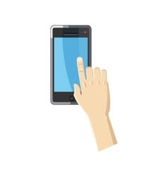 Hand pointing on smartphone icon cartoon style vector image