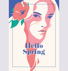 hello spring romantic poster vector image vector image