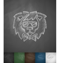 Hipster lion icon Hand drawn vector