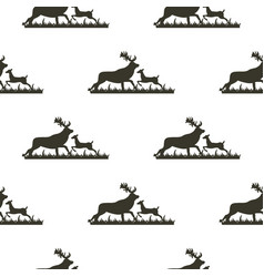 image pattern silhouette deer on grass vector image