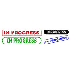 in progress rectangle seals with distress style vector image