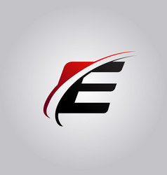 Initial e letter logo with swoosh colored red and vector