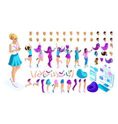 isometrics create your style girl teenager vector image