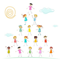 kid forming pyramid vector image