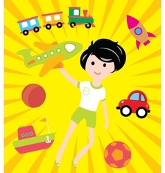 Kids dreams with many toys and transport vector image