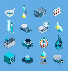 Laboratory equipment isometric icons vector