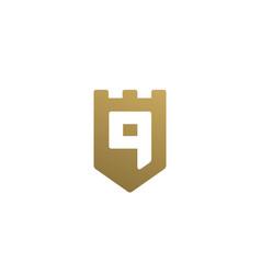 Letter q or number 9 shield logo icon design vector