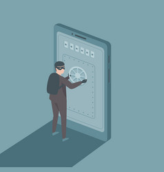 man in a black mask hacking into a smartphone vector image