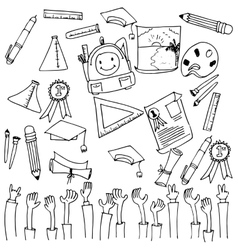 Many tools school education doodle vector