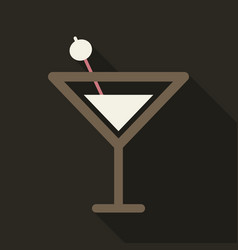 Martini cocktail with straw outline silhouette vector