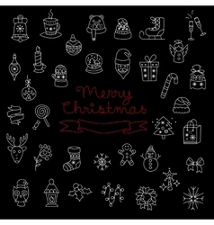 Merry Christmas Pattern with Holiday Elements vector