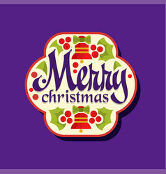 merry christmas sticker happy winter holiday vector image