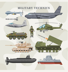 military technics army transport plane and vector image