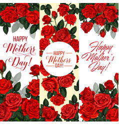 mother day holiday greeting card with rose flower vector image