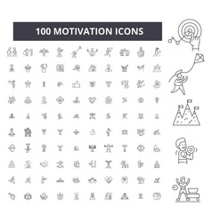 motivation editable line icons 100 set vector image