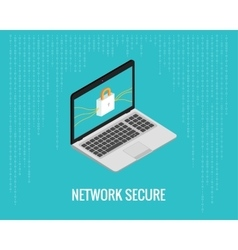 network secure with laptop and lock vector image