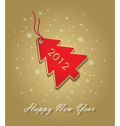 new year 2012 card with red christmas tree label o vector image